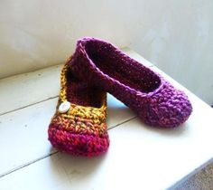 Crochet slippers puple orange multi colored by StitchyImpressions, $21.99