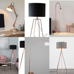 Copper is very much on trend, here are a selection of copper lamps. Wood design have this impressive tripod lamp with copper base for Ikea have a copper Work lamp Jansjo for Lampandlight. Copper Work, Work Lamp, Copper Lamps, Tripod Lamp, Wood Design, Ikea, Lighting, Home Decor, Decoration Home