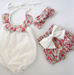 Vintage Rose 3 Pc Romper and Matching Short Set - Spring 2016 Pre-Order