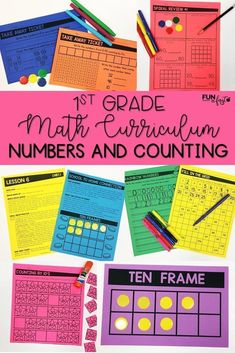 Looking to fill the gaps or revamp your math curriculum? These first grade math curriculum packets include detailed, easy to follow lesson plans, whole group lessons, small group activities, and much more. Numbers and Counting: Unit 1 is the first set of