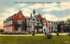 Montgomery Alabama 1940s Flowers Hall Huntingdon College Vintage Linen Postcard