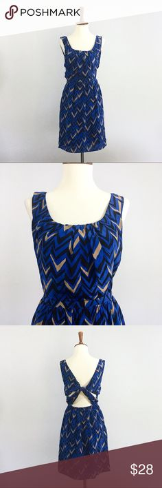"""Broadway and Broome Patterned Dress Blue and black chevron patterned sleeveless Broadway  and Broome dress. It is a size 0. In excellent condition. Bust is 34"""" and length is 35"""". Shell is 100% silk and lining is 100% polyester. Broadway & Broome Dresses Midi"""