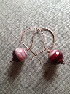 Red striped agate and copper