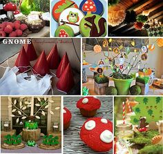 {Inspiration Board} Garden Gnome Woodland Party ‹ Itsy BelleItsy Belle   link to recipe for chocolate birds nests.