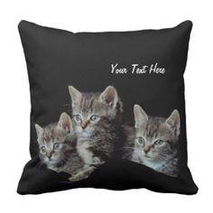 Precious Blue Eyed Kittens Reversible Throw Pillow