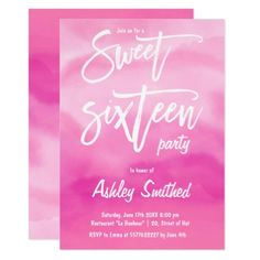 #Modern pink watercolor typography Sweet 16 Card - #sweet16 #invitations #sixteen #birthday #sweetsixteen #party #bday #birthdayparty