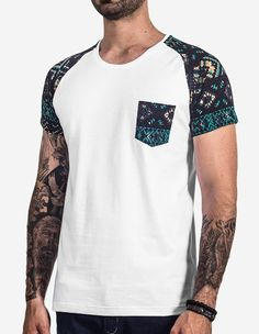 5 minutes of DIY embroidered t-shirt that is better than your little tattoo Casual T Shirts, Tee Shirts, Unique T Shirts, Cool Shirts For Men, Style Tumblr, T-shirt Raglan, Pool Party Outfits, Look Man, Mens Tees