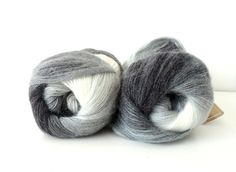 gray ivory white  bluegray  Wool Mohair Acrylic by yarnsupplies, $12.00