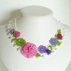 1867 Floral necklace by lakesidejewelry.etsy.com