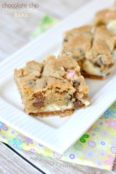 Chocolate Chip Cheesecake Bars with a graham cracker base, creamy cheesecake filling and delicious cookie crunch.