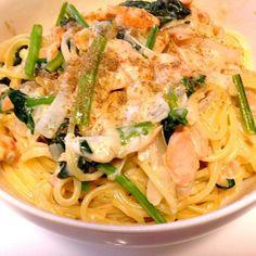 美味しくできましたʕ•̫͡•ʔ - 10件のもぐもぐ - ほうれん草と鮭と玉ねぎのクリームパスタ by ishimon