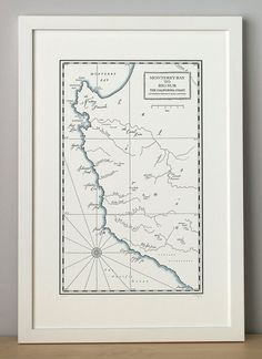 Monterey Bay to Big Sur California Coast Letterpress Map Print (Dark Grey)