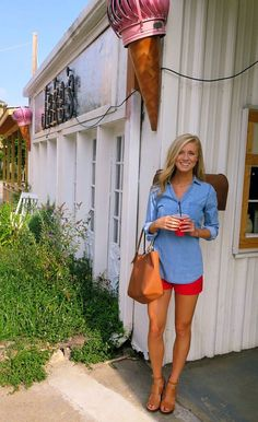 I love a good chambray top.  Looks adorable with the bright red shorts.  Great look for 4th of July!  The nude heels makes your legs look twice as long.