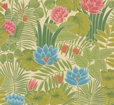 Behang uit de collectie Retrospective Papers van Little Greene heeft het jungle patroon Reverie. Het origineel komt uit 1971 en dit is een heruitgave.