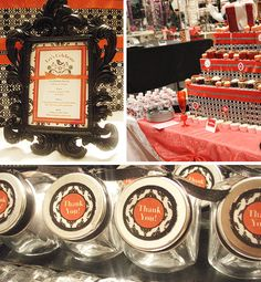 Fashion Party at Charming Charlies. Black & Red Damask Party Printables by PrintablesByAmy.com
