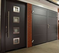 Take a look at this first rate garage door roll up – what an imaginative design … - Virtuoso. Wooden Front Door Design, Front Gate Design, House Gate Design, Grey Garage Doors, Side Hinged Garage Doors, Garage Renovation, Garage Remodel, Grill Gate Design, Insulated Siding