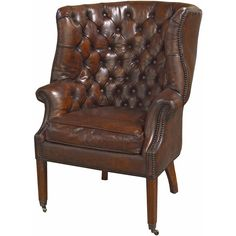 Liesl Rustic Lodge Tufted Vintage Brown Leather Castors Armchair ($2,246) ❤ liked on Polyvore featuring home, furniture, chairs, accent chairs, leather arm chair, leather wing chair, brown leather accent chair, leather chair and tufted armchair