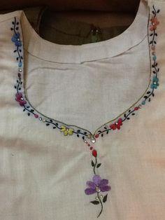Hand embroidered kurta neck pattern