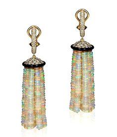 Goshwara opal bead 12 strand tassel earrings in gold with diamonds and onyx. #opalsaustralia