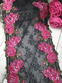 Floral embroidered stretch mesh lace trim by the yard | Etsy Lace Trim Shorts, Antique Lace, Most Beautiful, Mesh, Yard, Trending Outfits, Floral, Tattoo Ideas, Vintage