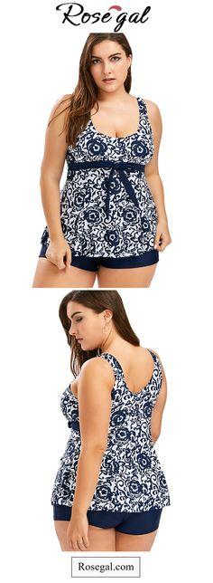 Plus Size Print Blouson Tankini Tankini With Shorts, Black Tankini, Pijama Plus Size, Moda Xl, Women's Plus Size Swimwear, Look Plus Size, Modelos Plus Size, Hawaii, Plus Size Fashion