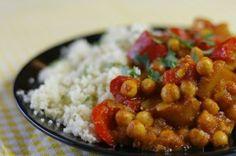 Curry met kikkererwten , paprika en zoete aardappel , Of ipv kikkererwten eens kip nemen.