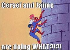 "Cersei and Jaime (""Game of Thrones"") / '60s Spider-man meme"