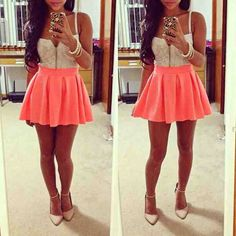 Lace Crop Top. High Waist Coral Skirt. Very Shaby Chic! Teen Fashion. By-Iheartfashion14♥ →follow←