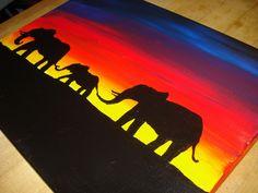 Marvelous Easy Acrylic Painting Ideas for House Indoor Decoration: charming-elephants-colony-easy-for-the-ideas-of-easy-acrylic-painting-ideas-which-has-the-nice-dusk-background