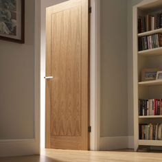 Internal Fire Door Oak Inlay 1 Panel with Walnut Inlay Pre finished Leeds Plywood and Doors Oak Fire Doors, Oak Doors, Entry Doors, Bungalow Hallway Ideas, White Internal Doors, Flush Doors, Architrave, Coving, Contemporary Doors