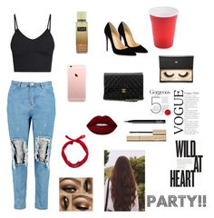"""""""Party Oufit!💋"""" by xxflowersxx ❤ liked on Polyvore featuring Boohoo, Christian Louboutin, Chanel, Lime Crime, NARS Cosmetics, Stila, Victoria's Secret and Lash Star Beauty"""