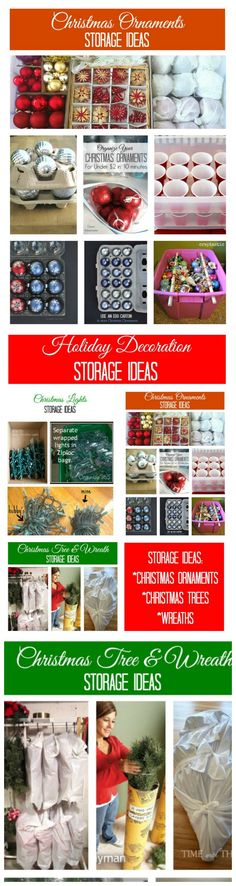 Tips for storing ornaments, Christmas lights, trees, and wreaths. Clever ideas for holiday decor storage.