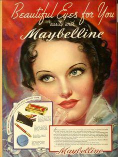 1930s quảng cáo của Maybelline về Mascara thời này đã xuất hiện nhiều sản phẩm cho phụ nữ làm đẹp