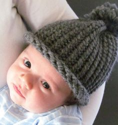Knitted grey pom pom hat infant to 3 months  by Knottygirlknitting, $7.00