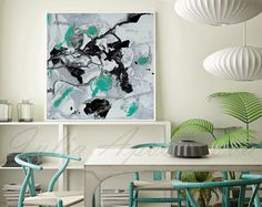 45inch Black and White Art Abstract Wall Art Abstract