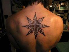 The tribal sun tattoo has become more popular in recent years. Learn about tribal sun tattoos, tribal sun tattoo designs, tribal sun tattoo meanings, and more. Tribal sun tattoo pictures and ideas. Sun Tattoo Tribal, Cool Tribal Tattoos, Tribal Tattoos For Women, Tattoos For Guys, Cool Tattoos, Black Sun Tattoo, Geometric Tattoos, Mandala Tattoo, Tattoos 2014