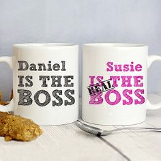 A fun wedding gift or gift for a couple with a sense of humour on any occasion - Personalised Mugs The Real Boss - www.vivabop.co.uk
