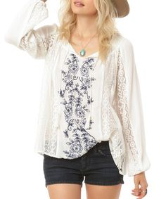 Another great find on #zulily! White Floral Holland Top #zulilyfinds