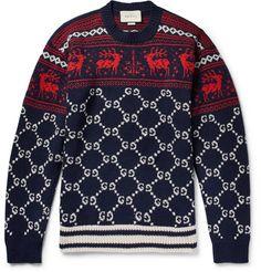6ccd21d392c GUCCI FAIR ISLE JACQUARD-KNIT WOOL SWEATER. #gucci #cloth Mens Autumn Winter