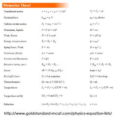 MCAT Prep: List important physics formulas and equations https://www.mcat-prep.com/mcat-physics-equations-sheet/