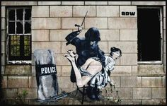 "Wow came across this to shocking not to pin what a perspective the following in the quote of previous pinner ""The Lady Of Justice gets her ass beaten by a riot policeman street art graffiti"
