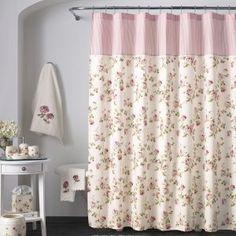 Pink Flowered Shower Curtains