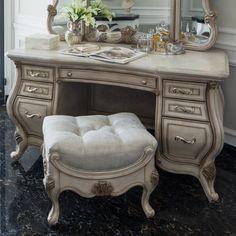 Rosdorf Park Galento Transitional Vanity Set with Mirror Wayfair Antique Bench, Antique Vanity, Vintage Vanity, Vintage Drawers, Diy Makeup Vanity, Vanity Decor, Vanity Ideas, Makeup Vanities, Dresser Vanity