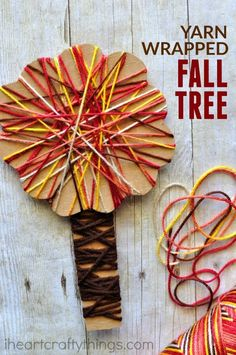 Yarn Wrapped Fall Tree Craft