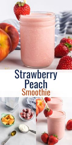 Strawberry Peach Smoothie, Peach Smoothie Recipes, Frozen Fruit Smoothie, Smoothie Recipes For Kids, Homemade Smoothies, Yummy Smoothies, Smoothies With Strawberries, Healthy Smoothies For Kids, Fruit Shakes