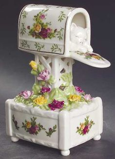 Mailbox W/kitten Music Box in the Old Country Roses pattern by Royal Albert China