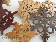 Wooden Snowflake Ornaments Wood Snowflakes Star by grahtoestudio