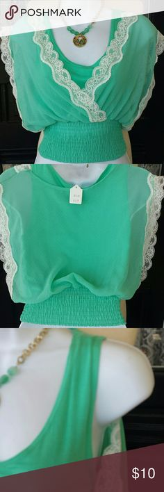 Mint green and cream lace sheer over tank Xtra small /small Nwt sheer mint green and cream lace over tank top.  Gathered and stretchy at waistline. Tops Blouses