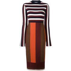 Victoria Beckham striped midi dress (3 895 PLN) ❤ liked on Polyvore featuring dresses, multi-color dresses, red dress, colorful midi dresses, stripe dress and stripe midi dress