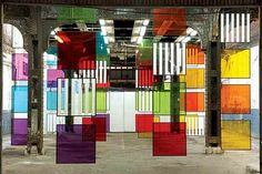 """Colored Screens"" by French artist Daniel Buren"